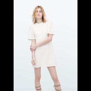 Zara Woman Size Large White Crochet Mini Dress